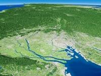 三重県上空から望む濃尾平野と木曽川
