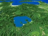 十和田湖を陸奥湾に向けて望む