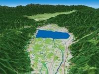諏訪湖北東部から諏訪湖と諏訪盆地を望む