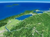 宍道湖一帯を日本海に向けて望む