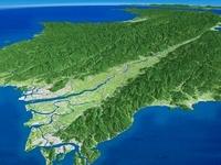 徳島北部から望む徳島平野と吉野川