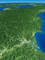 高知西部上空から眼下に四万十川を望む