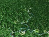 四国山地を流れる四万十川上流