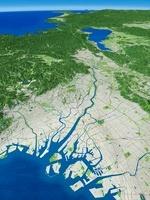 大阪湾上空から望む大阪平野と淀川