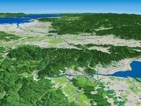 淀川上流部から望む京都盆地と大阪平野