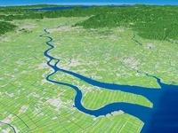 有明海上空から望む筑後川と筑紫平野