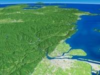 八代平野北部上空から望む球磨川