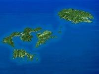 隠岐諸島を南方上空から望む
