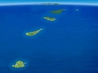 奄美群島を南西上空より望む