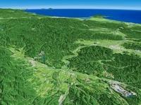 奥羽山脈北側上空から男鹿半島へ向けて望む米代川
