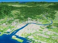 大淀川河口部上空から望む宮崎平野と大淀川