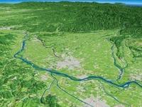 北上川を眼下に北東から望む胆沢扇状地