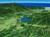 野尻湖と妙高山を望む