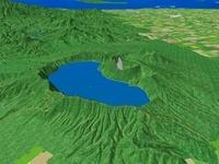 屈斜路湖上空から望む摩周湖と根釧台地