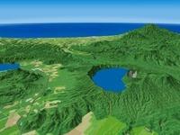摩周湖西部から知床半島へ望む周辺地形