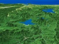 釧路北部上空よりオホーツクへ向けて阿寒湖を望む