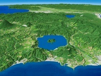 噴火湾上空から札幌市へ向けて望む洞爺湖