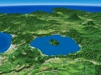 洞爺湖北東部から望む羊蹄山と積丹半島