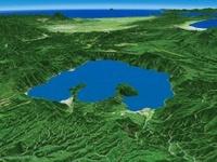 十和田湖東部上空から津軽平野へ向けて