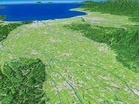 南砺市上空から砺波市へ望む富山湾