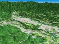 秩父盆地の荒川による河岸段丘と関東山地 02614000505| 写真素材・ストックフォト・画像・イラスト素材|アマナイメージズ