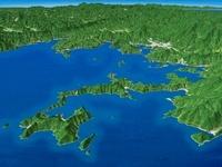 宇和島市沿岸部から宇和島市へ向けて望む