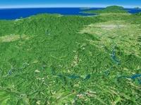 九州山地上空から望む大淀川と鰐塚山地