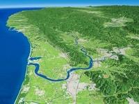 名取市上空から望む阿武隈川河口部