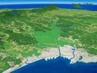 釧路港沿岸部から釧路湿原と釧路川を望む