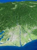 天竜川河口部上空から眼下に望む赤石山脈