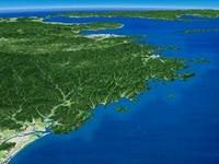 延岡市沿岸部上空から北へ日豊海岸を望む
