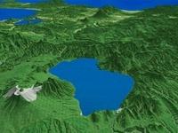 支笏湖東部より羊蹄山へ向けて日本海を望む