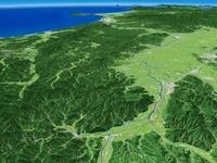 雄物川上流上空から望む横手盆地