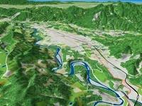 秩父盆地の荒川による河岸段丘 02614000567| 写真素材・ストックフォト・画像・イラスト素材|アマナイメージズ