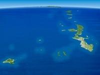 沖縄諸島から奄美群島にかけてを南西上空より望む