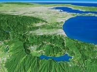 箱根山を遠景より望む
