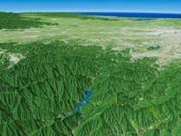 三頭山と奥多摩湖を遠景より望む