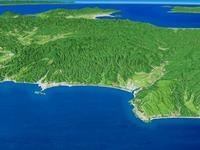 江差・上ノ国を日本海より望む
