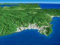 小樽市街を石狩湾より望む