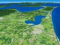 小牧温泉・小川原湖を望む 02614000712| 写真素材・ストックフォト・画像・イラスト素材|アマナイメージズ