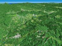 草津温泉と白根山を望む