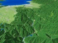 五箇山と庄川峡を望む