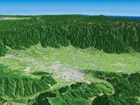 松本盆地と北アルプスを望む