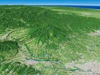 群馬県南西部より赤城山と長い裾野を望む