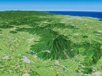 つくば市北部より筑波山と筑波山塊を望む