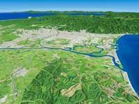 増毛山地上空より石狩平野と石狩川河口を望む