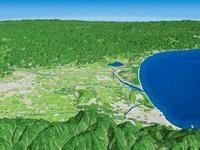 島根半島上空より出雲平野と神戸川河口を望む
