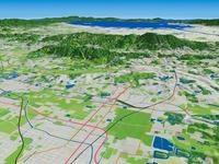 奈良市上空より奈良盆地と生駒山地を望む