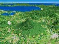 倶知安町より羊蹄山と洞爺湖・内浦湾を望む