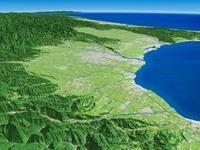 魚津市上空より富山平野と扇状地を望む